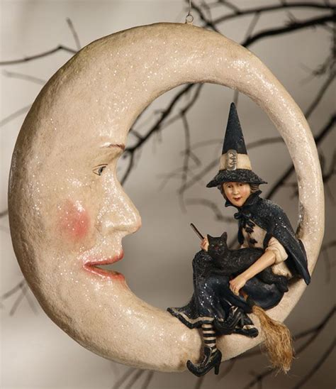 Paper Mache Witch on Moon   Vintage halloween decorations