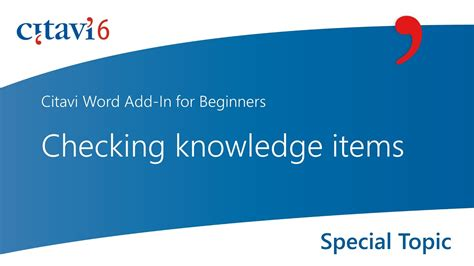 Citavi 6 Word Add-In: Checking knowledge items (2