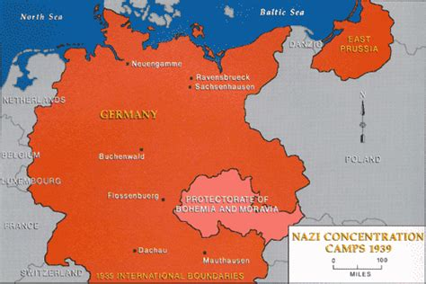 Map of German Concentration Camps in 1939