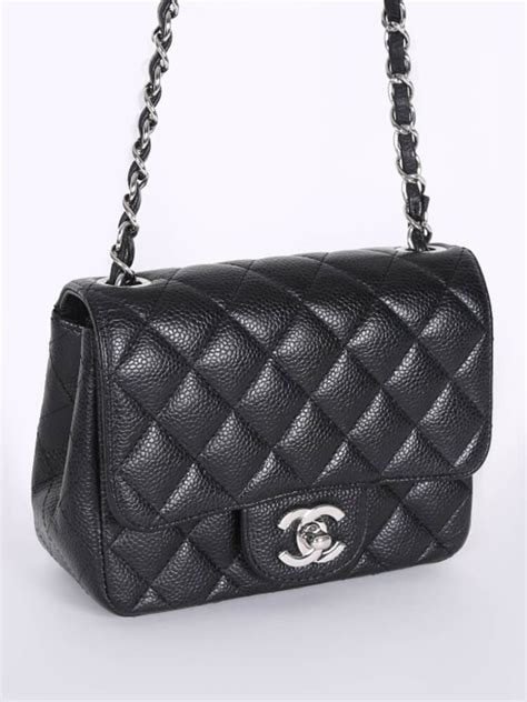 Chanel - Square Mini Classic Flap Bag Caviar Black