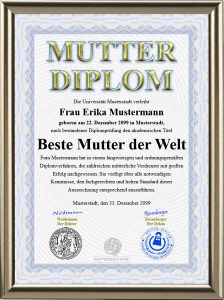 Premium Mutter-Diplom | Urkunden-Shop24