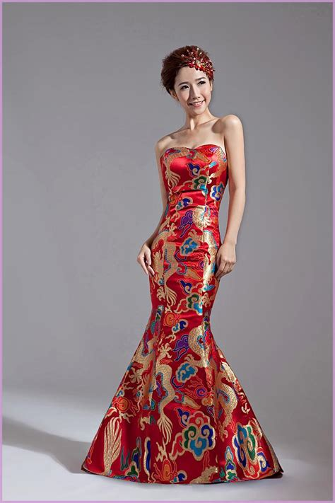 Top Sale!Classical Red Chinese Embroidery Cheongsam Dragon