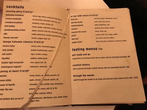 Bar menu which was tucked in an old book - cool - Picture