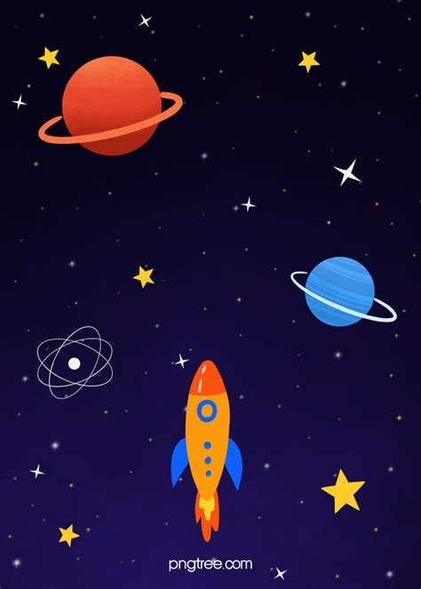 Colorful Cartoon Hand Drawn Space Background, Rocket