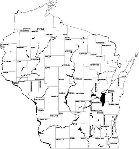 Wisconsin Outline Maps – State Cartographer's Office – UW